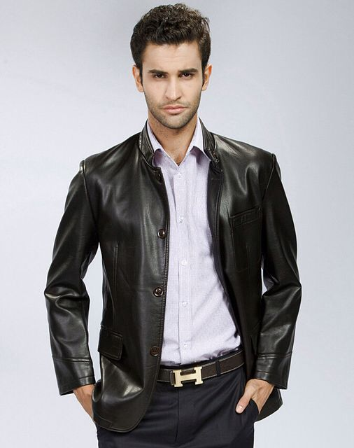 Young man in smooth leather