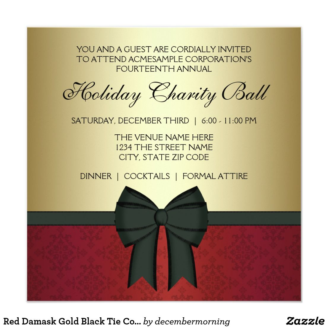 Red Damask Gold Black Tie Corporate Party Card | Party invitations