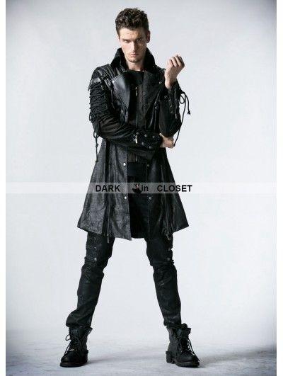 Punk Rave Black Long Sleeves Leather Gothic Trench Coat