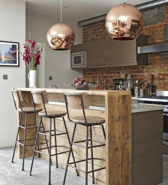 mur en briques industriel coin cuisine style loft industriel baer et chaises en bois style vintage