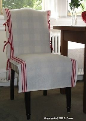 A Removable And Washable Tie On Cover Using Tea Towelling Kitchen Chair Covers