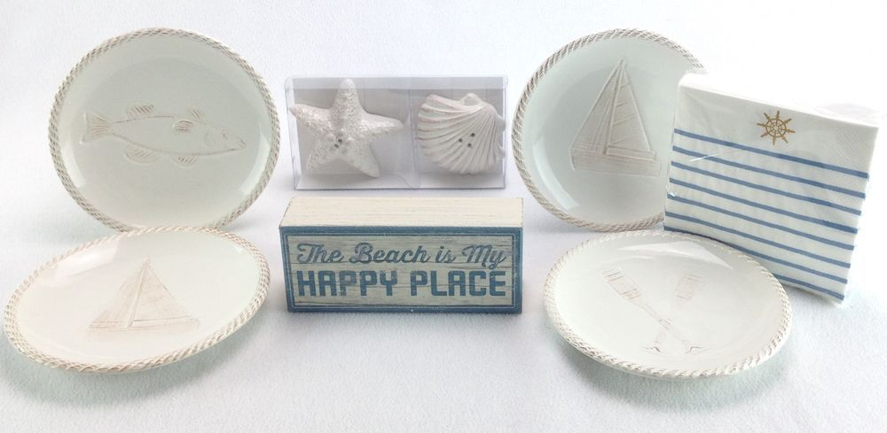 Coastal Collection Appetizer Plates Nautical Napkins Beach Sign Salt Pepper NEW #CoastalCollection & Coastal Collection Appetizer Plates Nautical Napkins Beach Sign Salt ...
