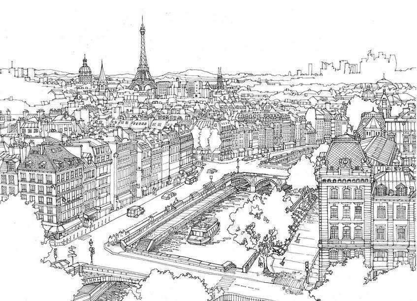 Coloriage colorier la ville pinterest coloriage - Dessin a colorier paysage ...