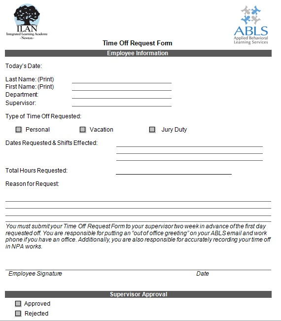 Vacation Request Form Template Time Off Request Form Words Templates