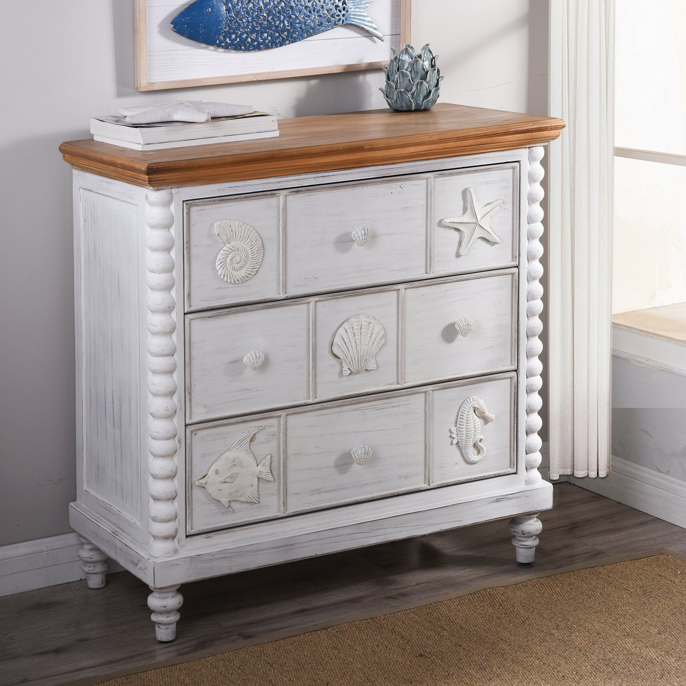 Woodcroft 3 Drawer Bachelor S Chest In White Brown Bachelors Chest Beachcrest Home Home [ 2401 x 2400 Pixel ]
