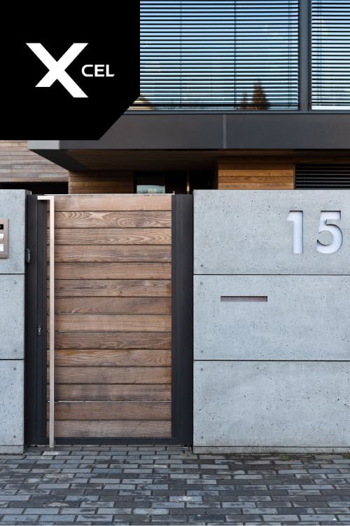 Modern Fence Made Of Wood And Architectural Concrete By