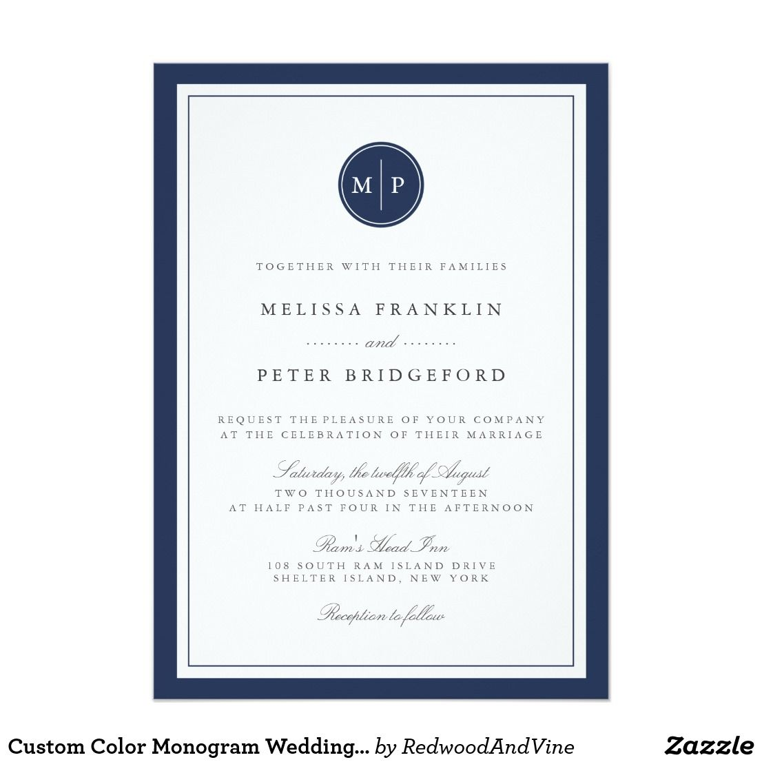 Custom Color Monogram Wedding Invitation | Bridal and Wedding ...