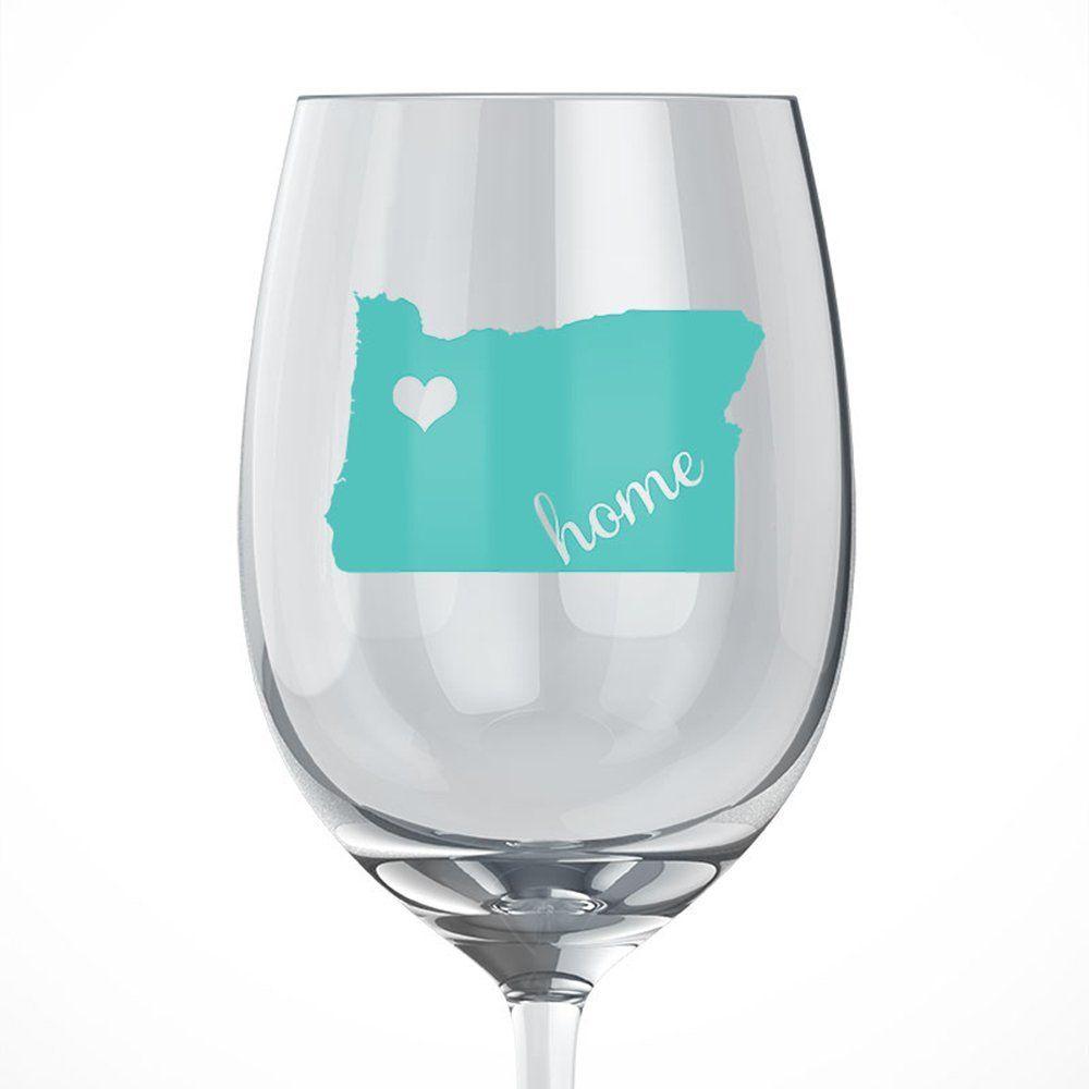 Oregon Home Wine Glass | Adhesive