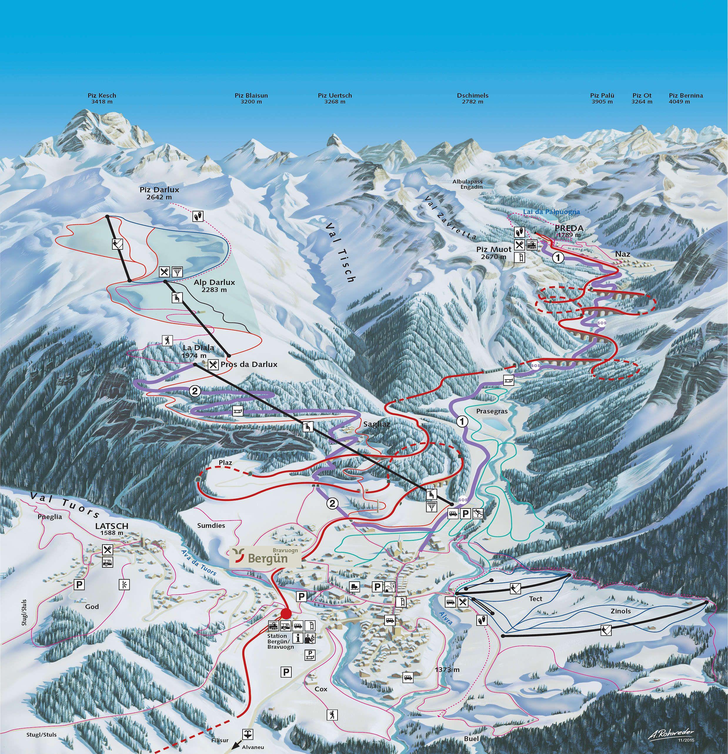 Bergun Ski Map Published In 2018 At Bergun Wengen Switzerland