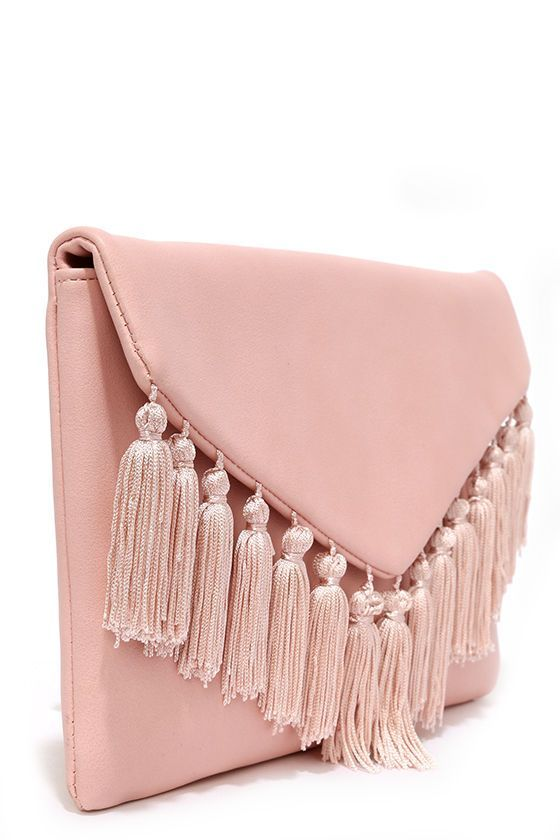 Arrive In Style Blush Pink Fringe Clutch At Lulus