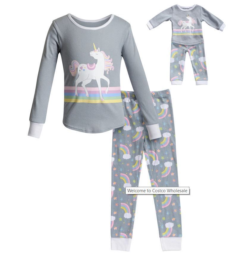 Fits American Girl Doll Leveret Matching Doll /& Girls Nightgown Kids /& Toddler Pajamas Unicorn Sleepwear 4-14 Years