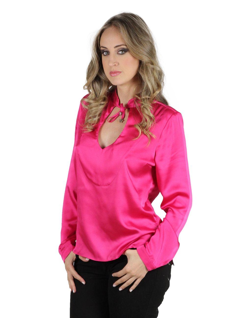 Fuscia pink satin blouse | satin | Pinterest