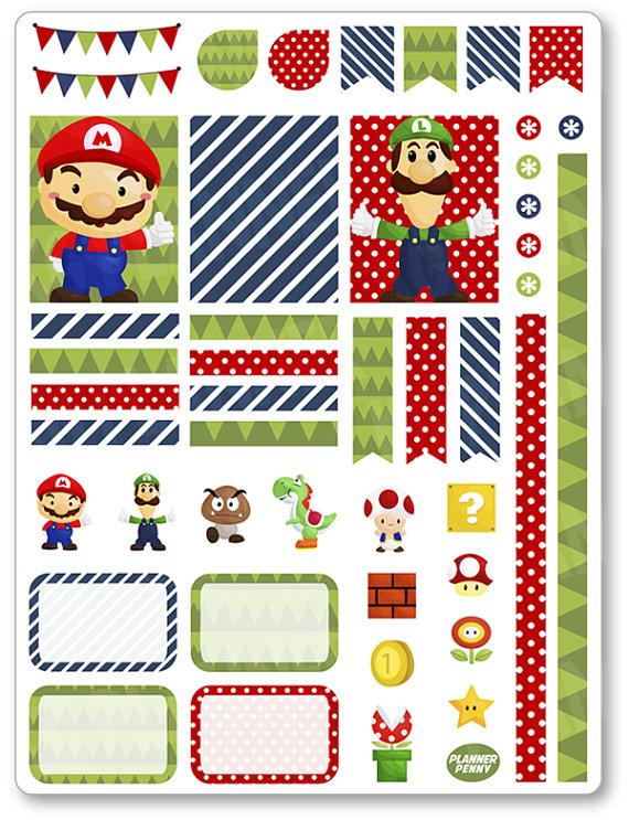 Mario decoración Kit / extensión semanal por PlannerPenny en Etsy