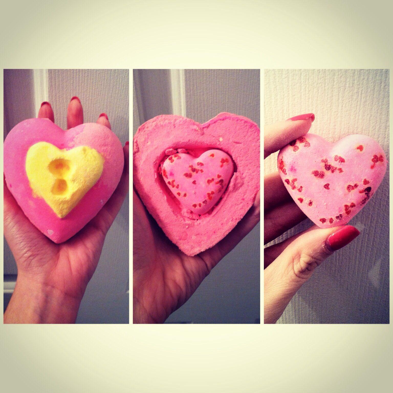 Love Locket bath bomb from Lush Cosmetics. / Valentines day limited edition / jasmine and vanilla.