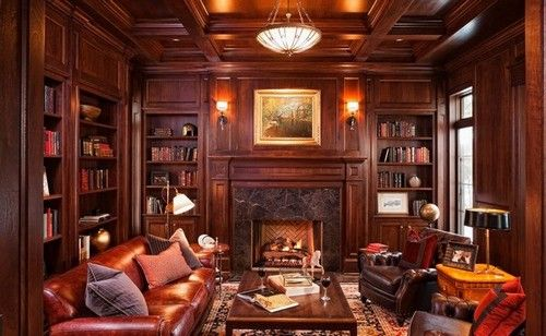 0 Home Library Ideas Clical Style Living Room Fireplace Red Wood