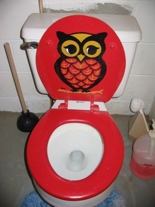 owl toilet seat- I think this is cute and I think I might cut decal ...