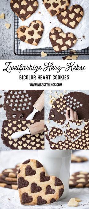 Zweifarbige Herzkekse oder Plätzchen / Bicolor Heart Cookies - Nicest Things #kekseweihnachtenkinder