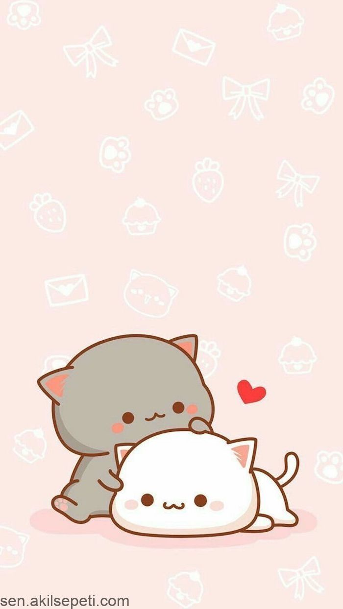 Cute Kawaii Picture For Tracing Gray And White Cat In Hug Little Ones Cute Anime Cat Cute Cat Wallpaper Cute Kawaii Drawings