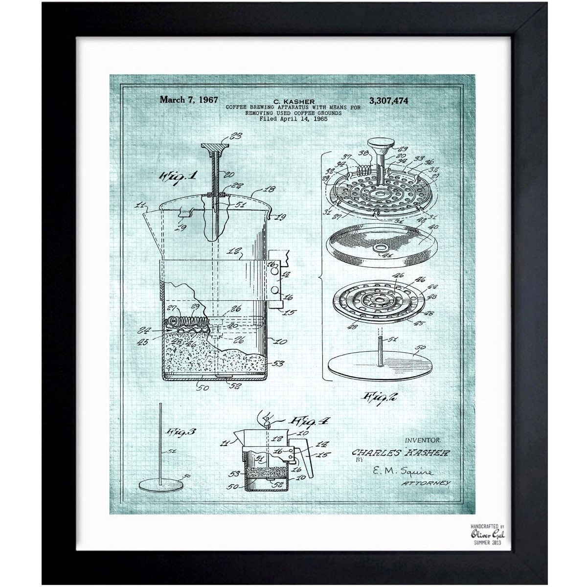 Oliver gal coffee brewing apparatus 1967 framed blueprint art oliver gal coffee brewing apparatus 1967 framed blueprint art malvernweather Gallery