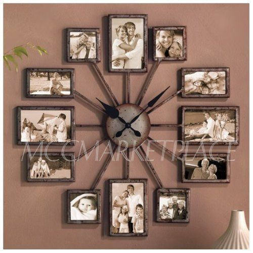Amazon Com Unique Large Wall Clock Photo Family Picture Frame Art Collage Great Gift Home Clock Photo Wall Clocks Farmhouse Decor Living Room