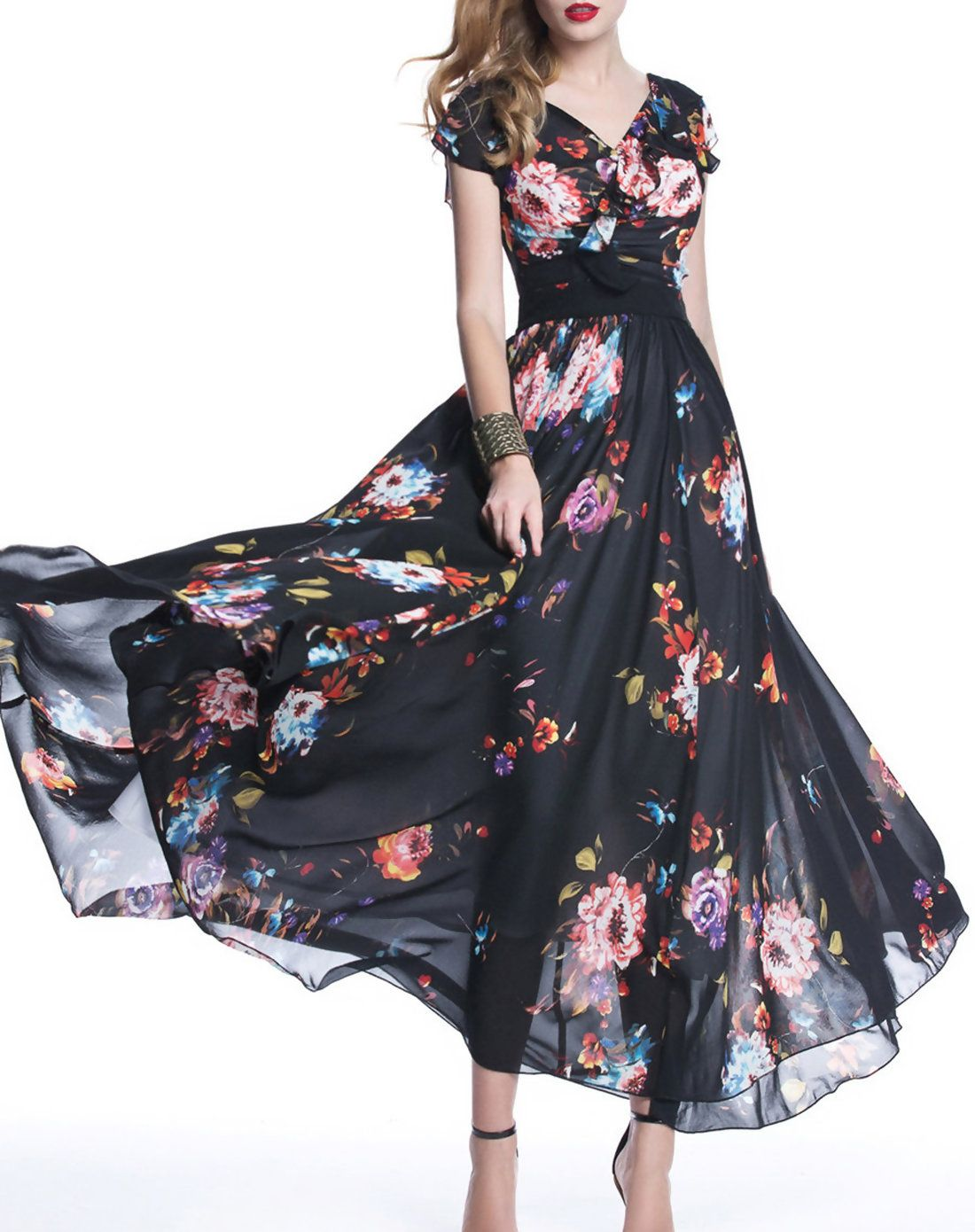 a8ad69c482f89  VIPme New Floral Short Sleeve Boho V Neck A-line Maxi Dress ❤ Get more  outfit ideas and style inspiration from fashion designers at VIPme.com.