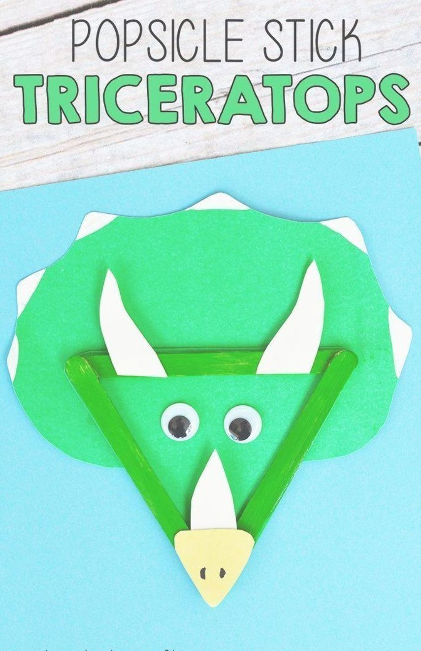 Popsicle Stick Triceratops Craft For Kids! A fun 3D craft for kids to enjoy duri…