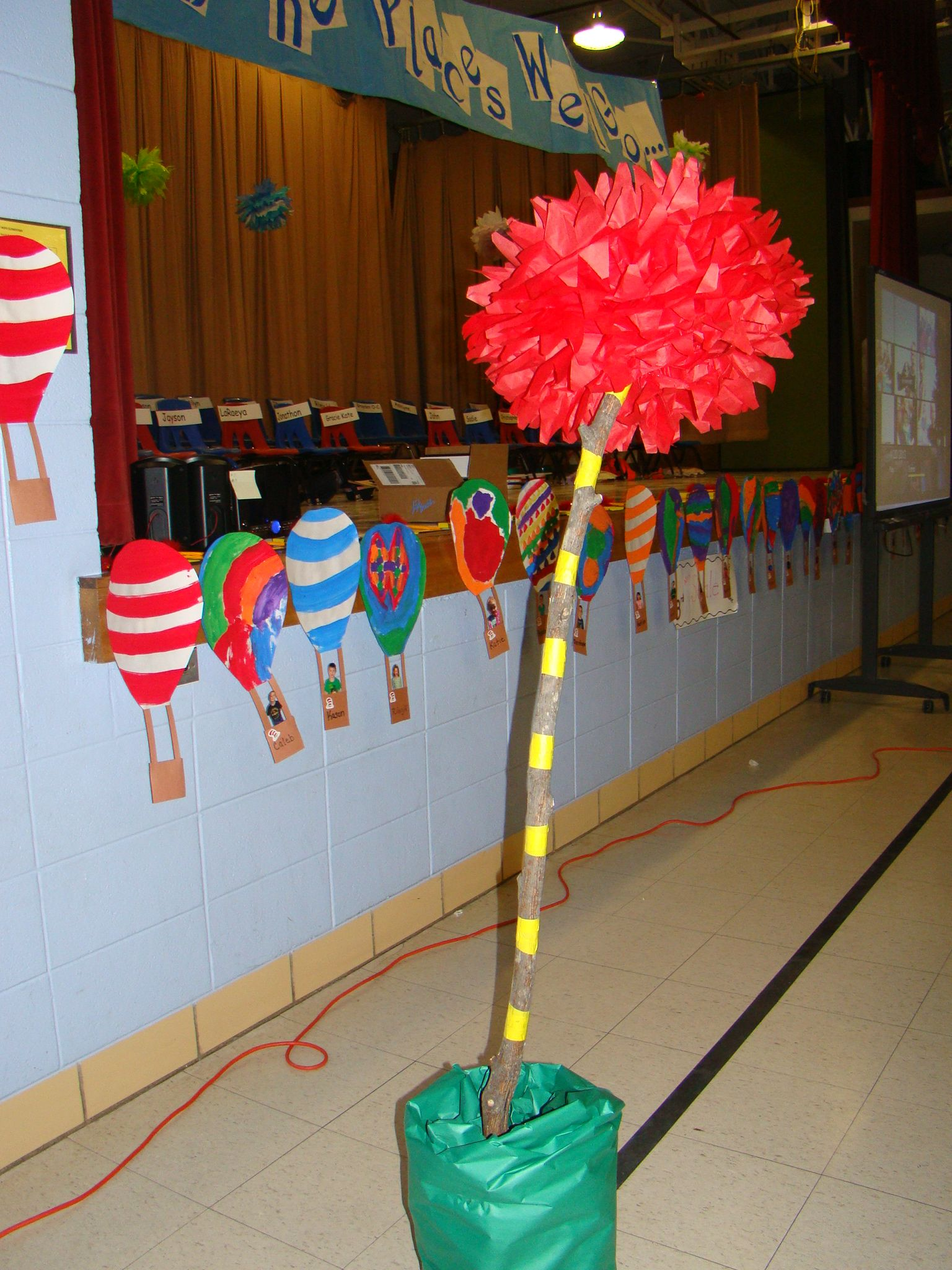 Truffual tree hot air balloons at our preschool graduation dr seuss theme oh the places we - Kindergarten graduation decorations ...