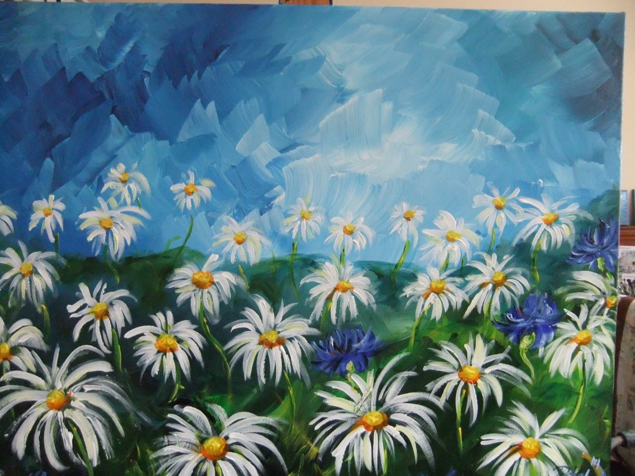 Blå himmel og margeritter_1