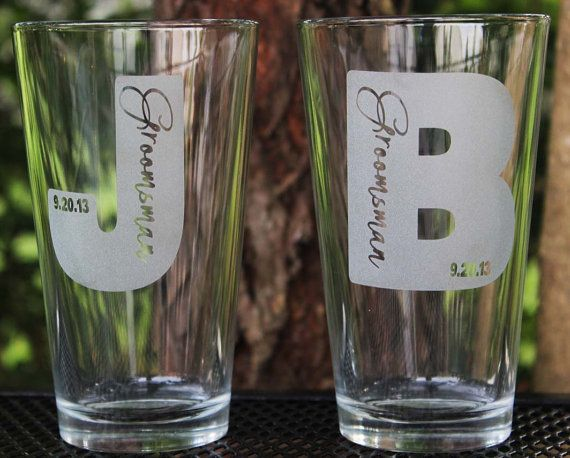 4 custom engraved pint glasses groomsman gifts wedding for Etched glass wedding gifts