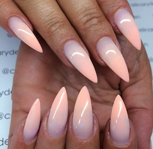 Nude Ombre Stiletto Nails Nails Pinterest Nails Nail Designs