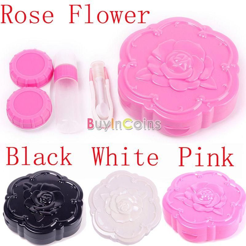 Cute Mini Rose Flower Contact Lens Case Travel Set Easy Carry Container Holder -- BuyinCoins.com