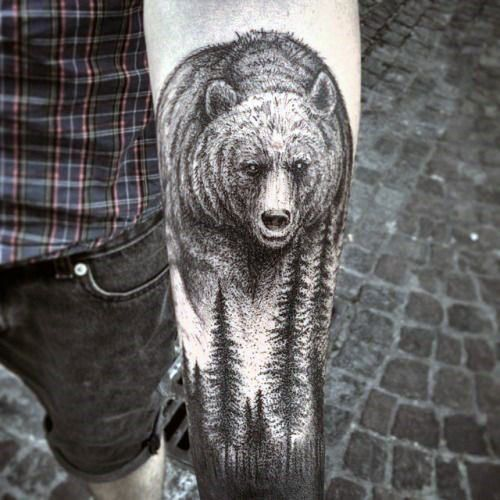 Bear Forearm Tattoos For Men
