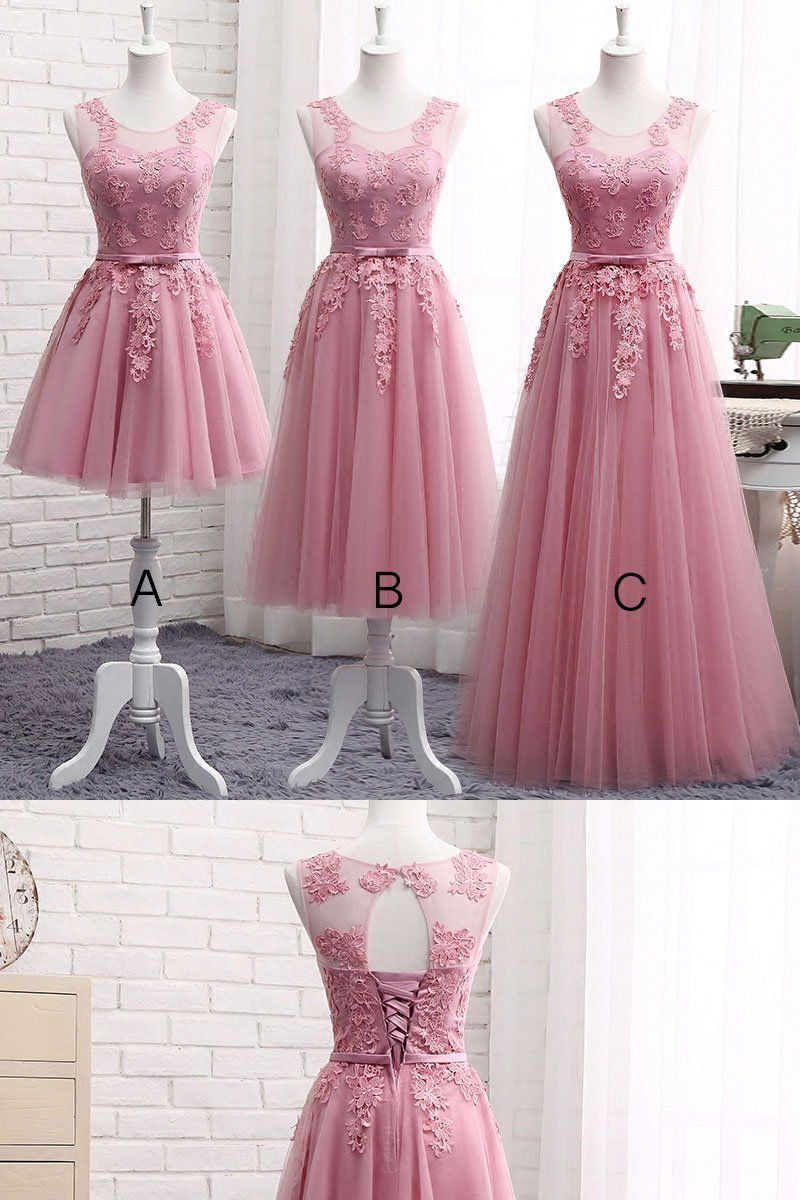 4b3b320fd Pink round neck tulle lace long prom dress