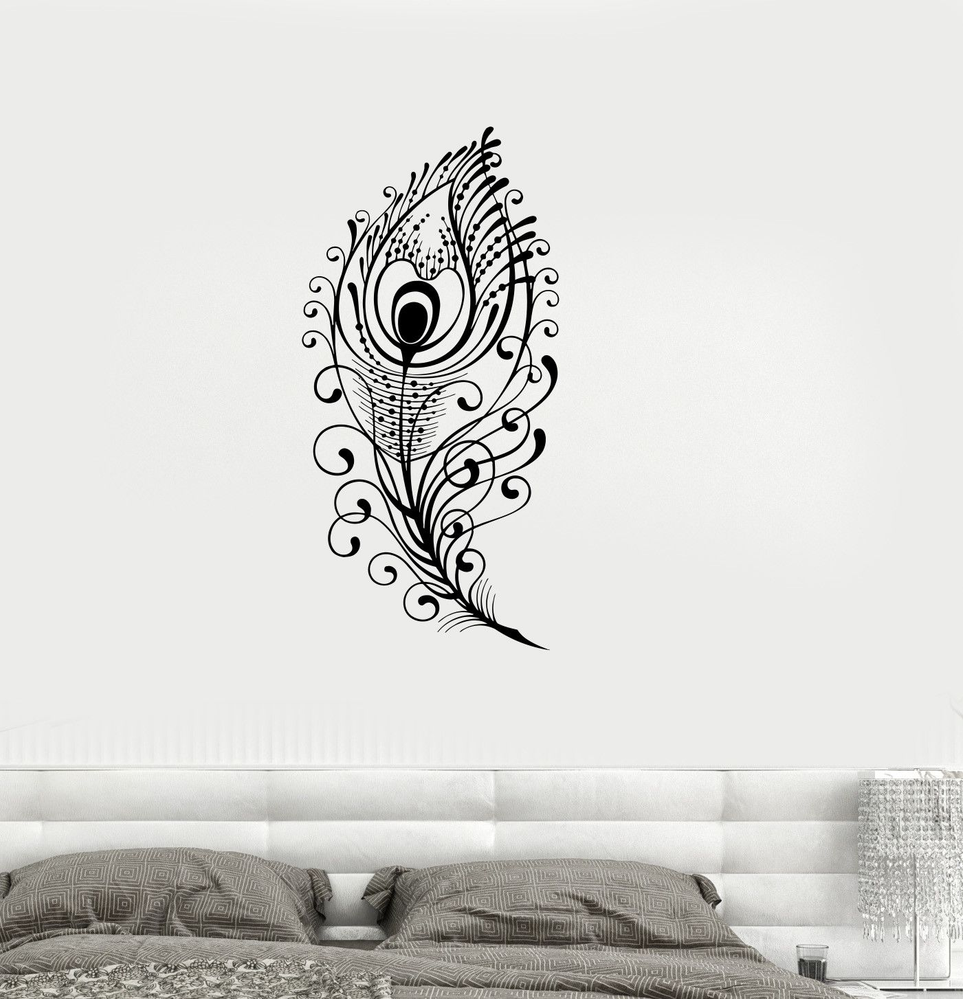 Vinyl Decal Peacock Feather Beautiful Wall Sticker Living Room Decor Girls  Room Decoration (ig2651) Part 31