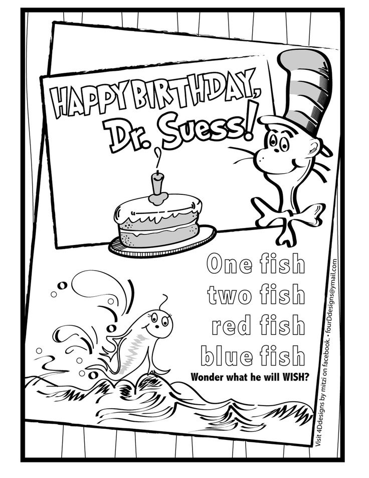 happy birthday dr seuss color sheet Happy Birthday Dr