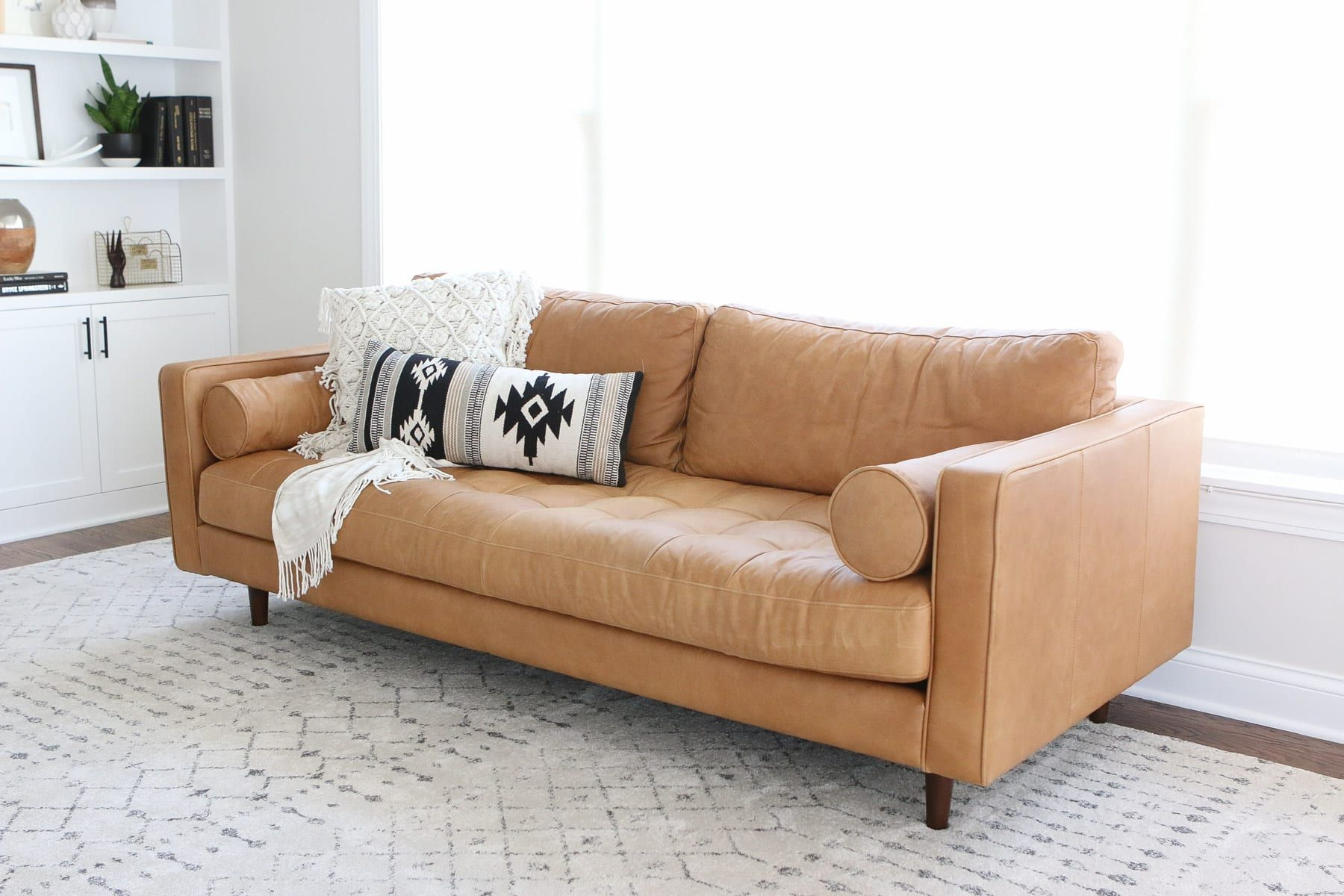 Taking A Chance On A Leather Couch From Article The Diy Playbook Brown Leather Couch Leather Couch Tan Leather Couch #tan #leather #living #room #set