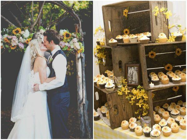Rustikal Sonnenblume Country Hochzeit Brautpaar Kiss