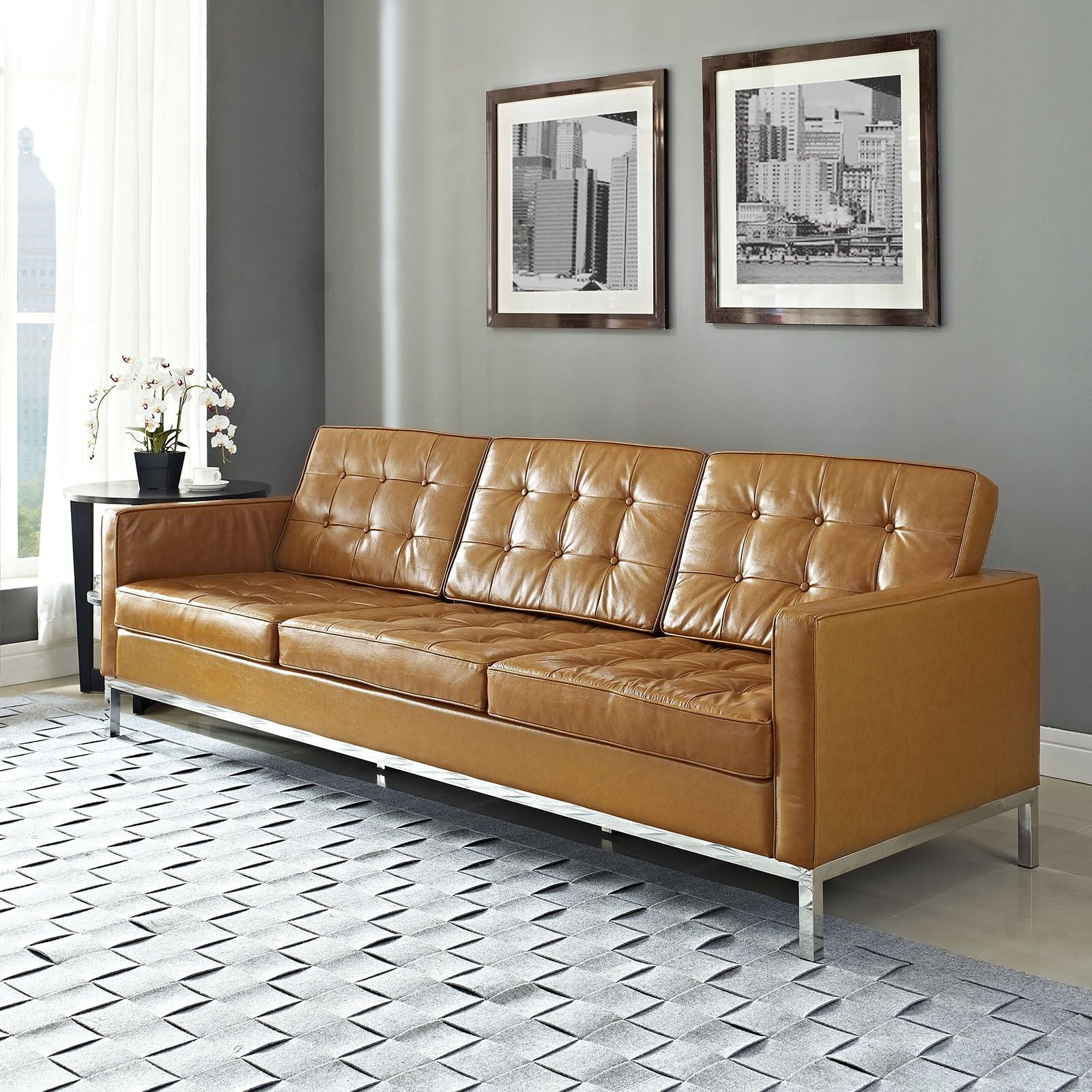 Furniture Mid Century Brown Leather Modern Tufted Sofa With