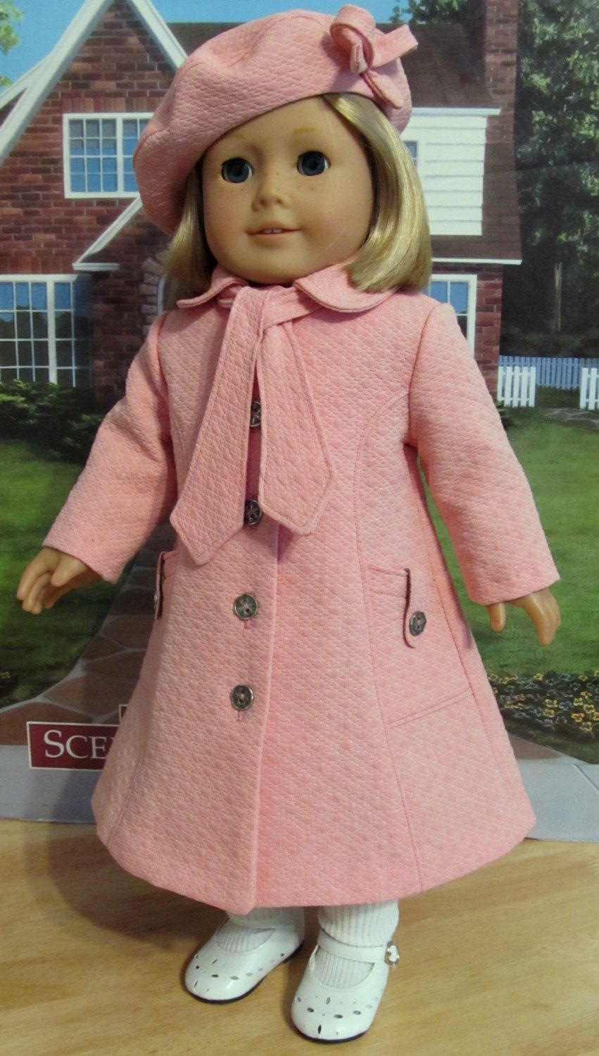 Coral Pink Classic Coat and Beret - Clothes fit American Girl Doll, An Original KeepersDollyDuds Design