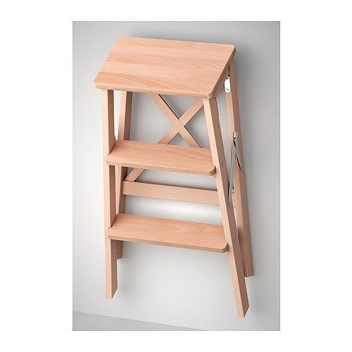 BEKVM Stepladder, 3 steps - beech - IKEA Hang up with hooks in the hall to  save space!