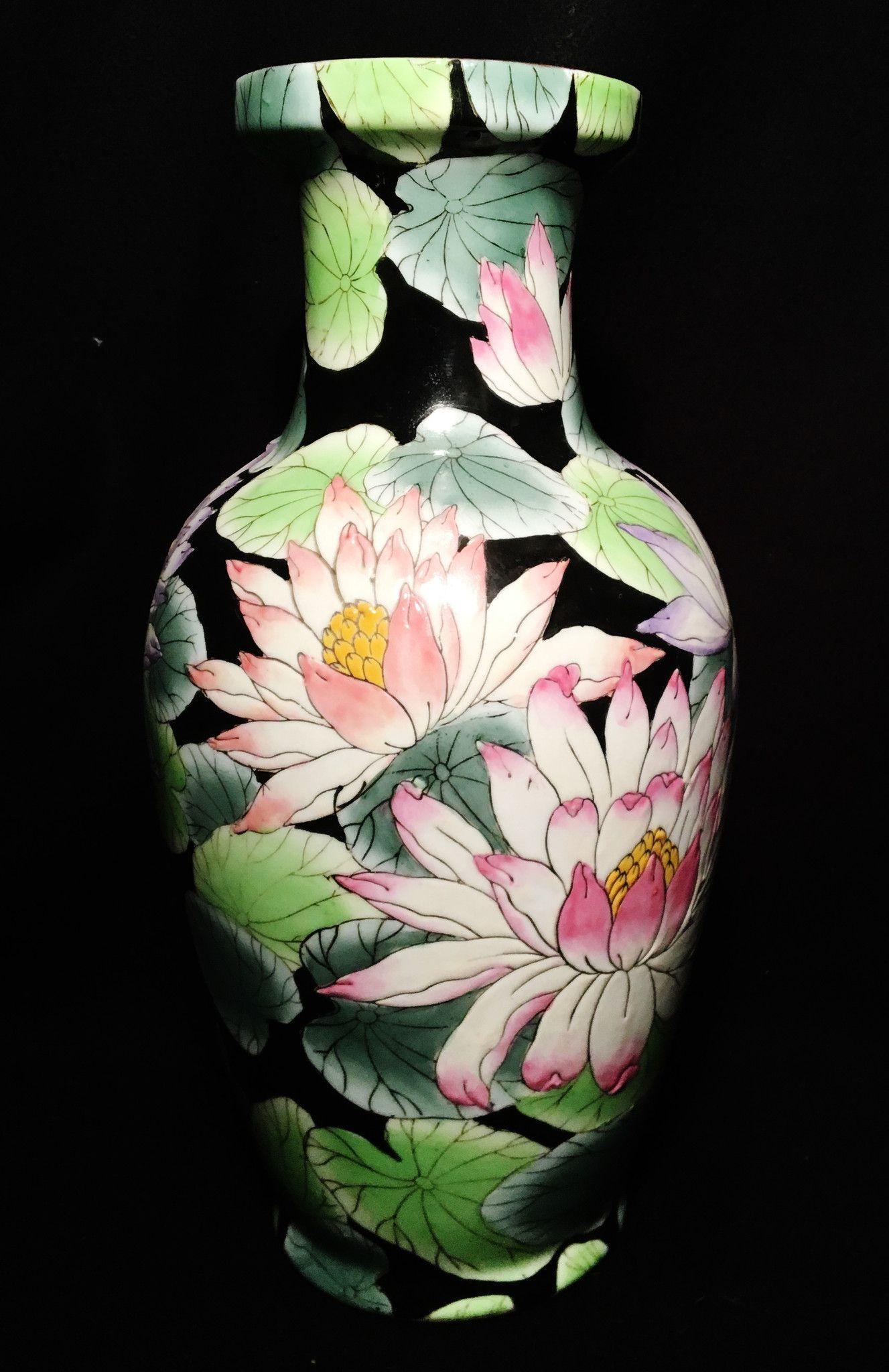 2 1900 1940 hand painted porcelain black lotus toyo japanese vases 2 1900 1940 hand painted porcelain black lotus toyo japanese vases reviewsmspy