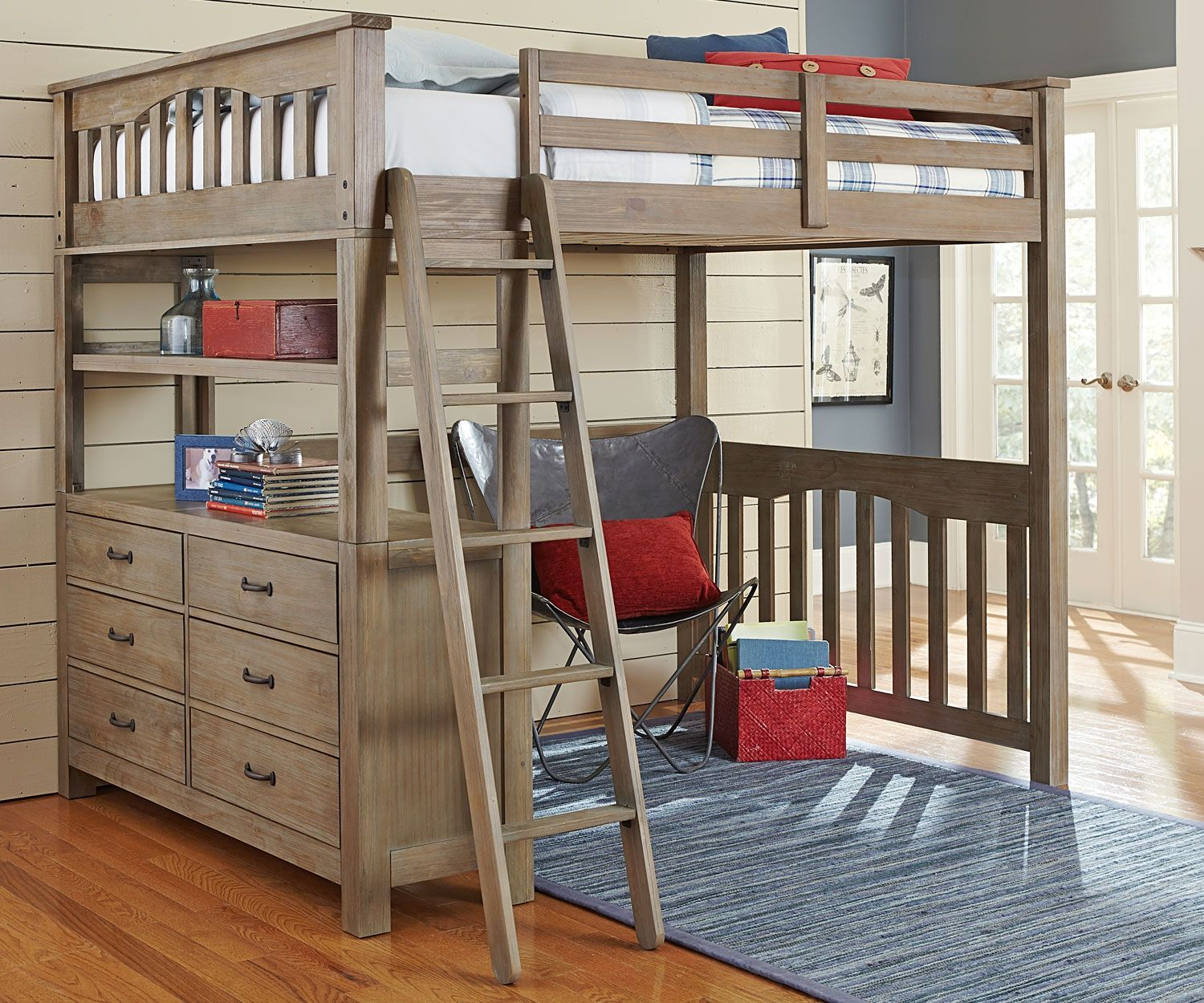 Top Full Size Loft Bed With Desk