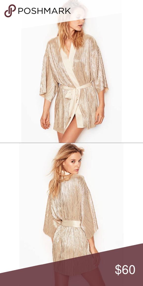 93e69d1feb Gold Shine Pleat Kimono Robe Lounge luxe in shimmering plisse pleats.   Tie  waist