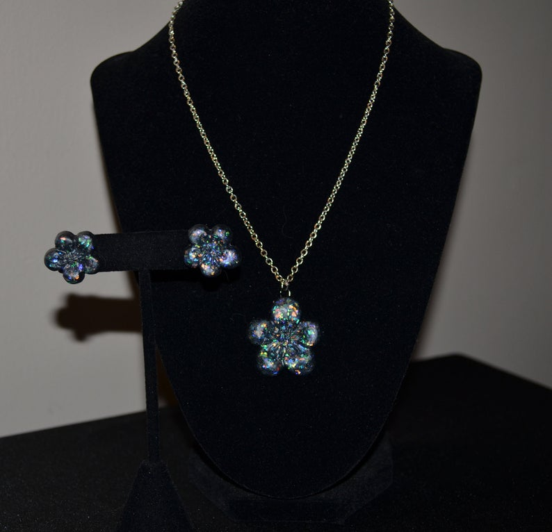 Chunky Snow globe jewelry set bracelet and earrings set Winter necklace