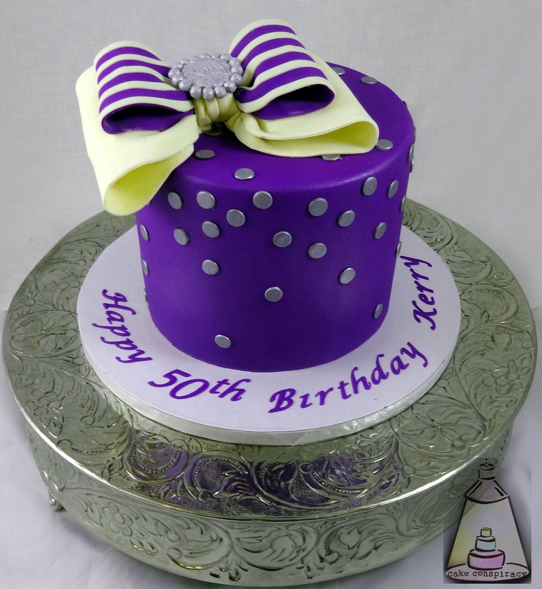 Purple Bow Buttercream Birthday Cake Birthday Cakes Pinterest
