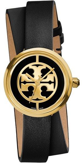 8c6262021 Women's Tory Burch 'Reva' Logo Dial Double Wrap Leather Strap Watch, 28Mm
