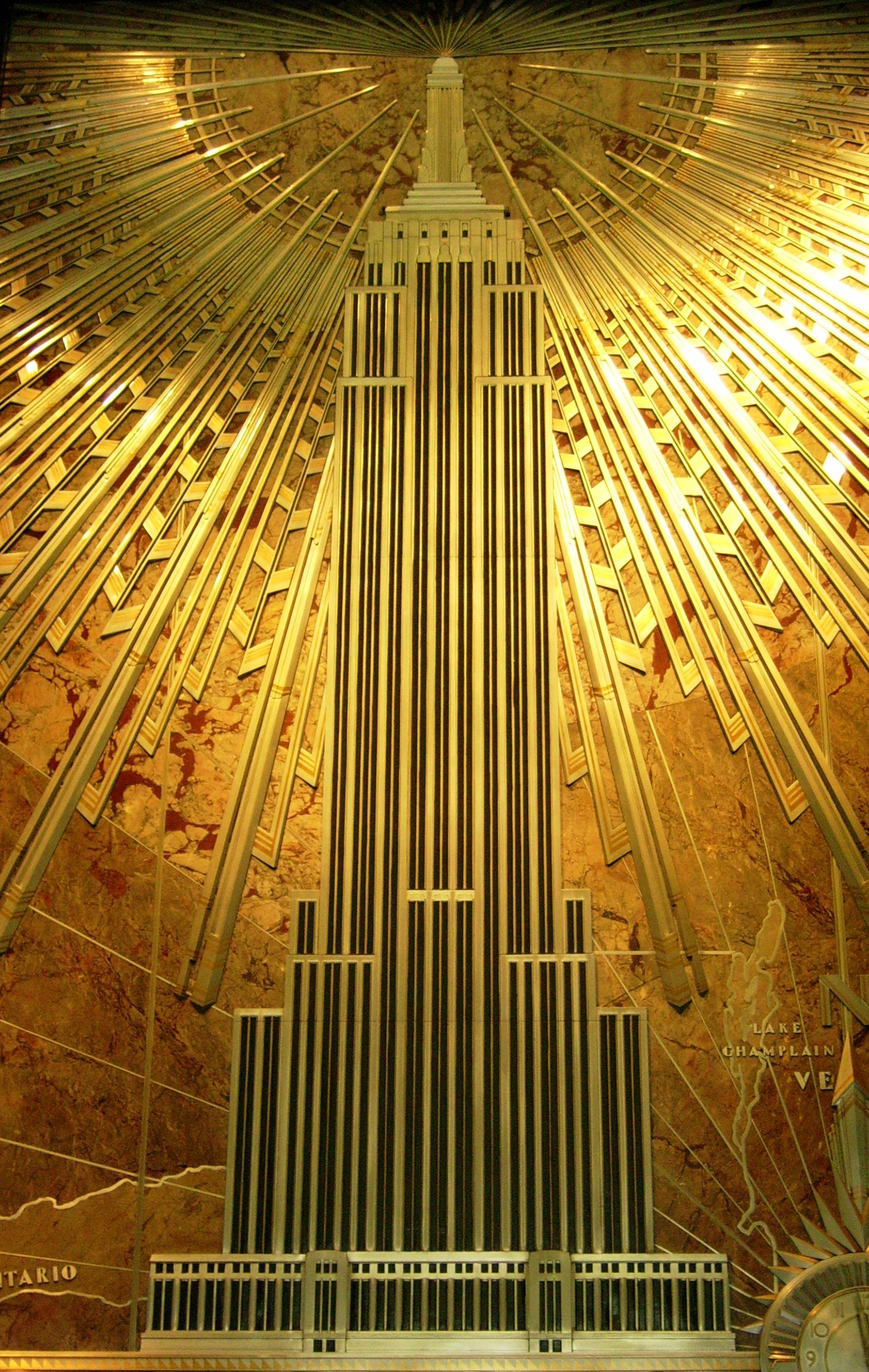 Art deco plaque depicting empire state building empire for The interior deco