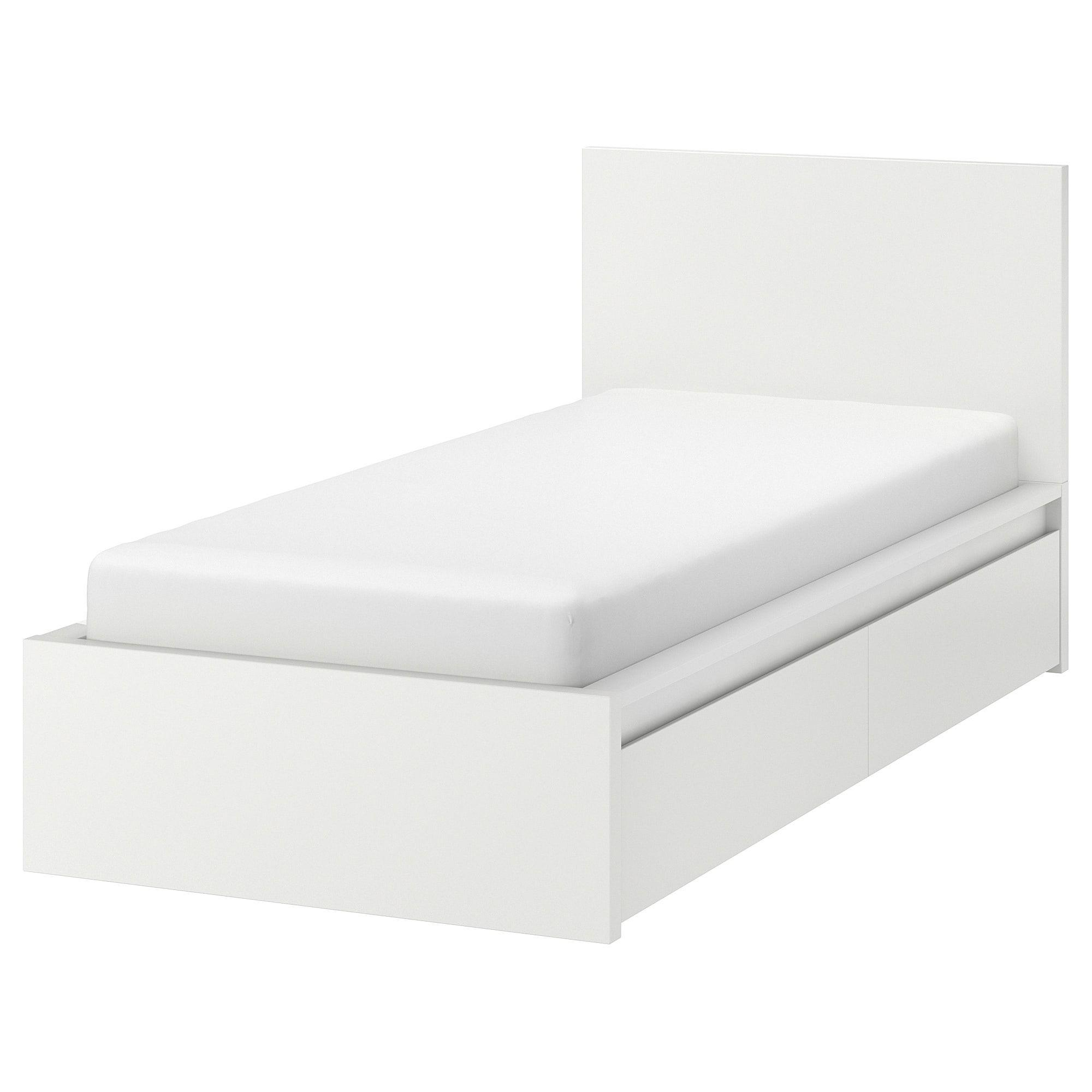 Malm Bettgestell Hoch Mit 2 Schubkasten Weiss Luroy Ikea Osterreich Malm Bett Bett Lagerung Und Bettgestell