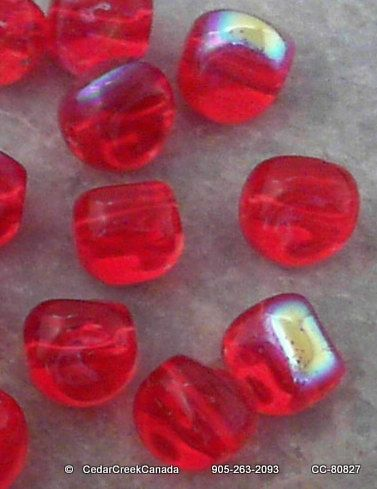 Iridescent Red 9mm Twisted Electroplated Glass Beads              CC-80827