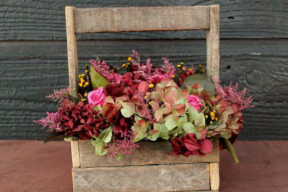 Wedding Centerpiece, Farmhouse, Rustic Table Arrangement with Preserved Green and Burgundy Hydrangeas, Roses, Wildflowers and Foliage via Etsy